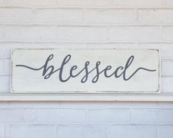 "Blessed sign | wood signs | wall collage | rustic white sign | rustic wall decor | 24""x 7.25"""