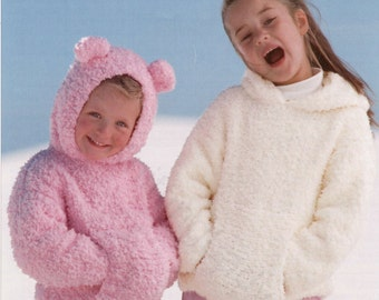 Girls Knit Pullover Sweater Jackets with Hood and Front Pouch Pocket Jumper Tunic Vintage Pattern Instant Download Pdf