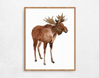 SALEMoose Wall Art, Animal Watercolor Poster, Moose Home Decor, Digital Poster, Printable Poster, Digital Art, Instant Download #239