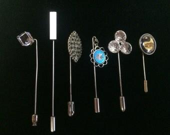 Lot of 6 Mixed Silver Pins