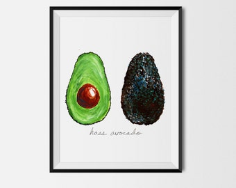 Avocado Print, Food Art, Food Illustration, Wall Art, Kitchen Art, Kitchen Decor, Kitchen Print, Food Print Vegetable Print, Avocado Paint