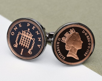 1988 gunmetal one penny coin cufflinks - 35th birthday gift