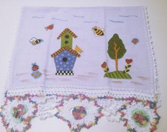 Applique Bird-house Crochet Kitchen Towel