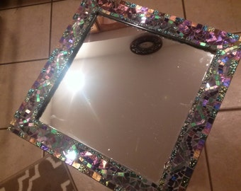 "Handmade stained glass mosaic mirror 12""x12"""