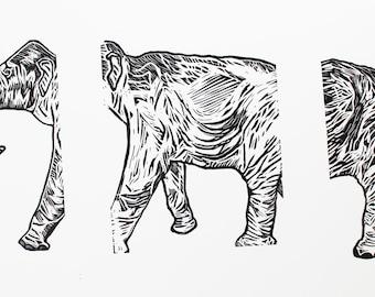 Mastodon Triptych, Linocut, Hand Printed, Limited Edition, Printmaking Original