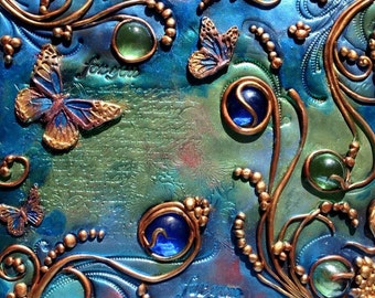 Tiles from my Secret Garden. ( No available) Art tile,Polymer clay and glass on Canvas. Acrylics, original painting. Handmade. 8x10
