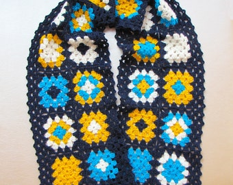 Crochet granny square scarf, handmade, colorful
