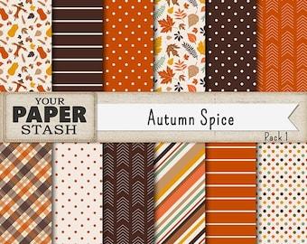 Autumn Digital Paper, Autumn, Thanksgiving, Halloween, Wedding, Pumpkin Spice, Digital Paper, Scrapbook Paper, Scarecrow, Leaves, Crafts