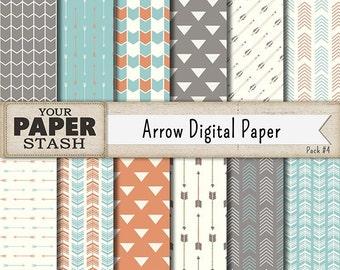 Arrow Digital Paper, Tribal Digital Paper, Hipster Arrows, Arrow Scrapbook Paper, Arrow Backgrounds, Southwest Colors, Commercial Use