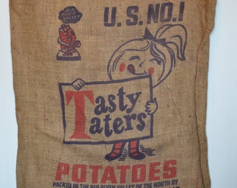 Tasty Taters North Dakota Potatoes Burlap Sack