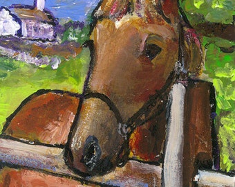 """ACEO original painting, acrylic 2.5""""x3.5"""" horse"""