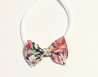 Mini Leather Bow - Baby Bow - Leather Bow - Floral Leather Bow