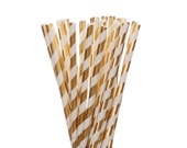 Paper Straws, Gold Foil Striped Paper Straws, Glam Bridal Shower, Shabby Chic Sweet 16, Golden Birthday Straws, New Years, Gold Anniversary