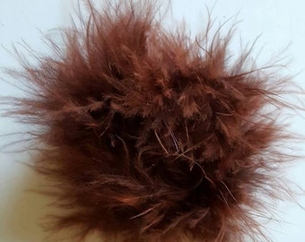 Brown marabou puff feather hairbows Brown marabou puff hairbow supplies feather puff