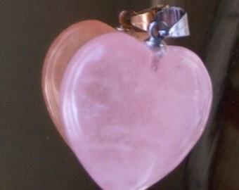 Heart PENDANT-Rose Quartz-unconditional love, joy and serenity