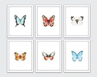 Watercolor Butterfly Print, Butterfly Nursery Art, Butterfly Wall Art Print, Butterflies Art, Insect Print, Butterfly Bedroom Decor