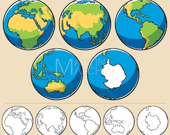 Globe map earth etsy earth vector cartoon illustration planet globe sphere world map sciox Images