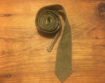 Vintage Beige Suede Leather Slim Necktie Excellent Condition