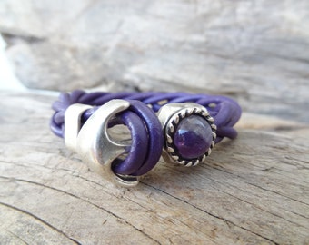 EXPRESS SHIPPING,Purple Leather Bracelet, Purple Amethyst Bracelet, Woven&Braided Bracelets, Amethyst Hook Bracelet, Gifts for Girlfriend