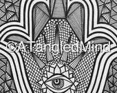 Original Zentangle Hamsa Hand Ink Drawing, Instant Digital Download / Printable Adult Coloring Page