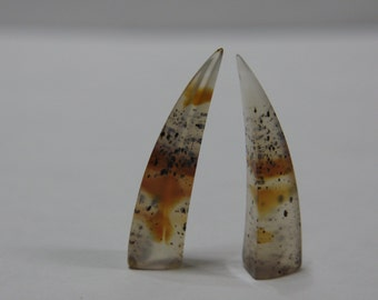 Montana Agate Cabochon Mini Tusk Matched Set