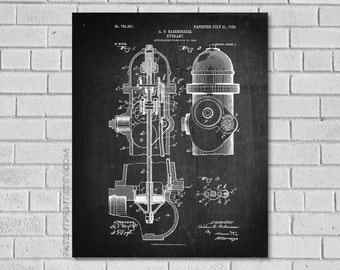 Fire Hydrant Patent Print - Firefighter Decor- Firefighter Art - Firefighter Gift - Patent Art - Historical Print - Patent Print CF251