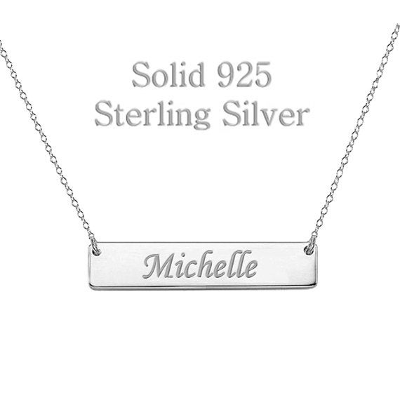 925 Sterling Silver Bar Necklace Personalized Name