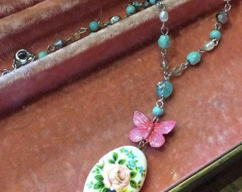 Pretty Spring Porcelain Butterfly Pendant