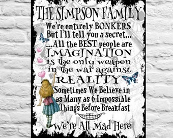 Personalised Metal Alice in Wonderland Vintage Quotes In this House Rules Room Wall Sign Gift Present