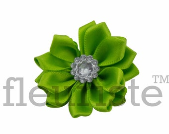LIME Ribbon Flower With rhinestone center, Satin flower, Fabric rose, Rolled Rosette, Wholesale Flower, Fabric Flower, Satin Flower, 3pc