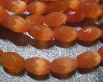 Orange Cat's Eye Faceted Barrel Beads 40pcs