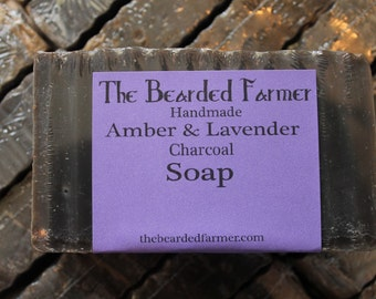 Black Amber & Lavender Charcoal Natural Soap - The Bearded Farmer