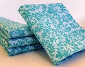 Cloth Napkins, Set of 4 - Elegant Teal Floral with Teal back - Double-sided, Dinner napkins, Cotton Fabric, Reusable - by Sew4MyLoves