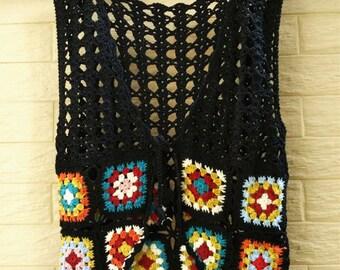 Granny Square Crochet Vest Tie Front