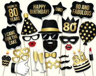 80th birthday photo booth props printable PDF. Black and gold eightietieth birthday party supplies. Instant download Mustache, lips, glasses