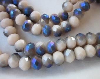 Faceted Crystal Rondelle Beads, Cream with Bermuda Flash, 6mm x 4mm