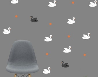 Wall Stickers Swans Vinyl Kids Room Pattern Decal Sticker Wall Decals Matte Vinyl