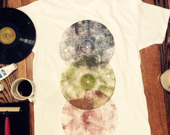 Vintage multicolored vinyl record T-shirt.  Any color combos you desire. Order custom in email message