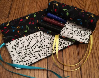 Music Notes Crayon Wallet Crayon Roll Crayon Holder