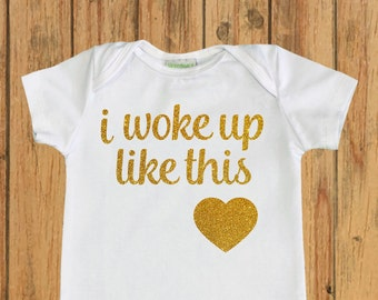 Baby shower gift, Baby Girl Coming home outfit, newborn outfit, hospital outfit, First Bodysuit, newborn romper, I woke up like this