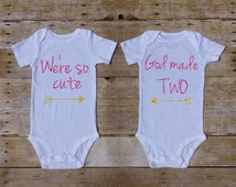 We're So Cute God Made Two Twin Outfit Twin Set of 2 Twin Shirts Twin Baby Girls Outfit Pink Gold Glitter Shirts Twin Baby Gifts