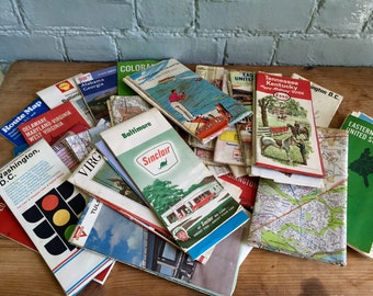 Vintage Map Lot: 28 maps from the 60s-80s