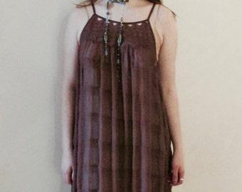 60s Bohemian Mauve Sheer Maxi Dress