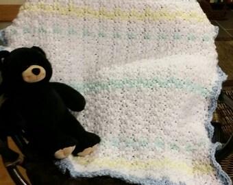Blue/Green/Yellow/White Baby Blanket