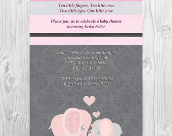 Baby Girl Shower Invitation Pink and Grey Elephants