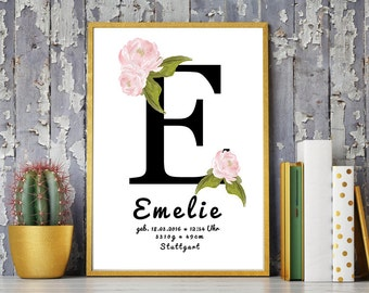 DIN A4 birthdates personalised art print 'Monogram', mural, print