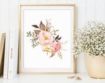 Floral Print, Floral Decor, Floral Wall Art, Floral Printable, Floral Nursery Decor, Watercolor Flower Printable, Printable Floral Art