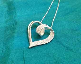 Vinage Necklace, Sterling Heart and CZ Accents Mother's Day Gift