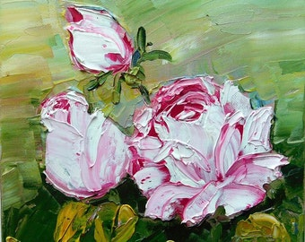 Pink Roses Original impasto oil painting No.04-07 ready to hand stretched canvas  8 x 8