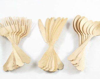 Fancy Wood Cutlery - 24 pc Set